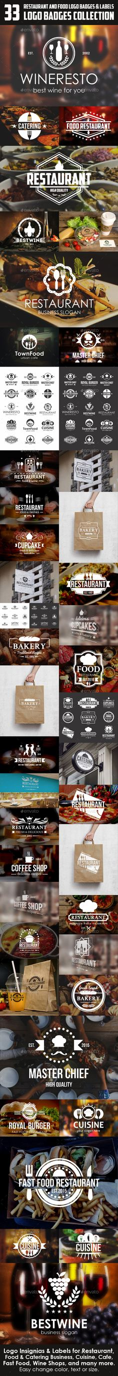 Restaurant Food Badges Logos & Labels Bundle – 33 Vintage Logo Insignias & Labels for Restaurant, Food & Catering Business, Cuisine, Bakery, Bakery Cupcakes, bakery labels, Bread Shop, coffee and cupcake shops, bar, Cafe, Fast Food, Bistro, Wine Shops, and many more. Handcrafted logos ideally to start a new branding project. Also, can be used as labels, insignia or badges. – Vector Logo Badges Collection.