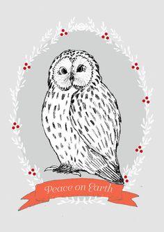 HOLIDAY Cards Set Owl Peace on Earth postcard set by IrenaSophia
