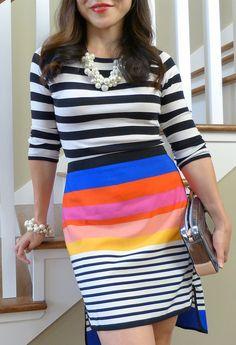 rainbow brite (#jcrew top #asos skirt #anntaylor jewelry #coach bag)