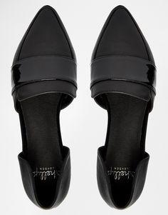 Shellys Black Leather Flat 2 Part Shoes