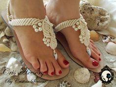 sandalia macrame 3 perlas