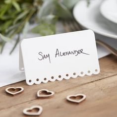 White Scalloped Edge Wedding Place Cards