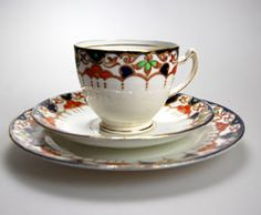Very pretty Edwardian Balmoral China Tea cup, saucer and side plate matching Trio.