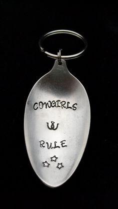 Stamped Spoon Keychain Cowgirl Key Chain by TheSilverwearShop, $9.75 https://www.facebook.com/NKsilverwear
