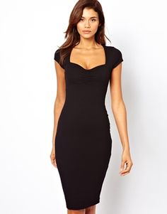 ASOS Body-Conscious Dress With Ruched Bust And Short Sleeves