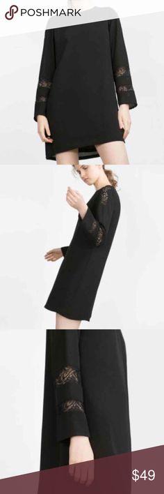 NWT Zara Dress Zara Straight Cut Contrast Lace Dress Zara Dresses Midi