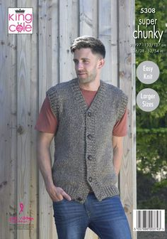 7a8977de83b47 Man s Waistcoat   Round Neck Sweater Knitted in Big Value Super Chunky  Stormy ...