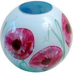 Milan Nosek 'Flower Ball', made in the south of France in Offered by Oljos Glass Concepts on RubyLUX. Flower Ball, South Of France, Milan, Glass Art, Candle Holders, Concept, Vase, Candles, Flowers