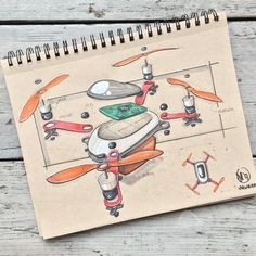 //167. Kicking off inktober in style with an exploded view of this swift drone. I had fun imagining the design while sketching the separate parts might do some ideation sketches on drones some other time! Feel free to let me know what you think! #alwaysbesketching #inktober2017