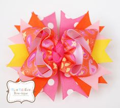 Orange and Hot Pink Paisley Hair Bow (copyright Miss Maddie's Bowtique)