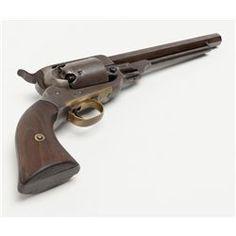 "Civil War-associated E. Whitney Navy percussion revolver, .36 cal., 7-1/2"" octagon barrel, wood gr"