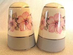 Homer Laughlin Salt and Pepper Shakers - CV17 Gray Rim with Platinum Trim and Pink Floral Center Shakers - Collectable Salt Pepper Set