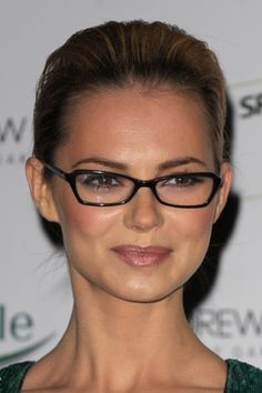If you have a round face shape as Kara, pictured here, does, try a pair of rectangular frames with sharp edges