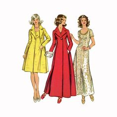 1970s Princess Seam Dress and Coat Pattern Simplicity 5351 Bust 38 UNCUT Formal Evening or Cocktail Length Womens Vintage Sewing Patterns