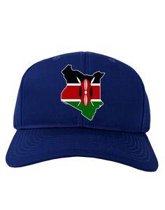 TooLoud Kenya Flag Silhouette Adult Dark Baseball Cap Hat