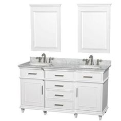 Wyndham Collection Berkeley 60 in. Double Vanity in White with Marble Vanity Top in Carrara White, Oval Sink and 24 in. Mirrors-WCV171760DWHCMUNRM24 - The Home Depot