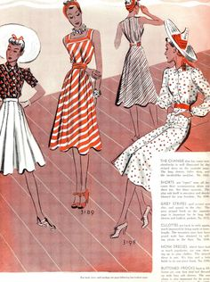"what-i-found: Let's get ready for summer! 1939    The striped one is the pattern I used for my ""monk dress"" http://wearinghistoryblog.com/2010/05/mccall-3189-monk-dress/"