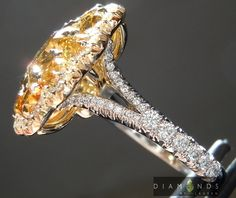 3.01ct Fancy deep brownish yellow cushion cut diamond halo ring