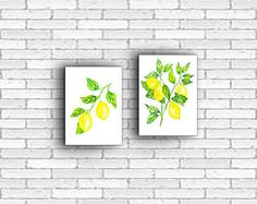 Lemons prints, Set of two wall art, Watercolor print, Printable art, Watercolor lemons, Printable watercolor, Instant Download