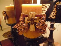 Leopard Print Candle With Cross. via Etsy. Luxury Candles, Best Candles, Diy Candles, Scented Candles, Leopard Decor, Leopard Bedroom, Candle Art, Candle Sticks, Tuscan Decorating