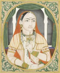 PORTRAIT OF A WOMAN SMOKING A HOOKAH  Jaipur, second half of the 19th Century  £1,000 - 1,200  US$ 1,300 - 1,500  €1,200 - 1,400