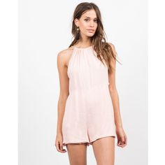 "‼️1 HR SALE‼️ Flirty and cute! This Cut Out Halter Romper features side cut out, thin cami ties on the back for closure forming an open back and a halter neckline. Pair this one-piece wonder with some flatform sandals and carry a bucket bag for any casual, summer day out. This roper is made from 100% Rayon. Recommended to hand wash cold. Made in USA.  Model is wearing size small and a 3 in jeans. Height: 5'7"" - Bust: 32"" - Waist: 23"" - Hips: 35"". Dresses Mini"