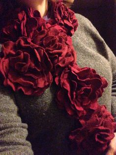 Upcycled, restyled, rose scarf, made from old, felted sweaters.