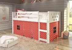 Twin Wood Loft Bed - White w/ Polka Dot Tent