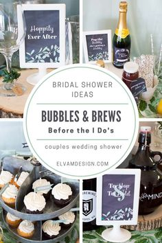 Bubbles and Brews Before the I Dos couples wedding shower is a fun theme to join together the bride and groom in the festivities. Wedding Shower Banners, Wedding Shower Centerpieces, Wedding Shower Cupcakes, Couples Shower Decorations, Couples Shower Themes, Couples Wedding Shower Games, Couples Shower Gifts, Table Decorations, Shower Hostess Gifts