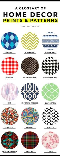 15 Common Home Decor Prints and Patterns: A Glossary of Terms - From the French formality of a toile pattern, to the difference between chevron and herringbone, here's a complete glossary of common home decor prints and patterns. | StyleCaster.com