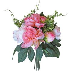 """Peony Silk Bouquet in Pink and Cream7.5"""" Bouquet Head x 11"""" Tall ($13) ❤ liked on Polyvore featuring home, home decor, floral decor, pink artificial flowers, pink peony bouquet, pink bouquet, peony artificial flowers and romantic home decor"""