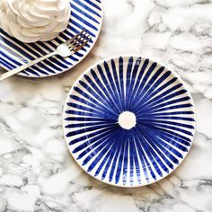 Ray Pattern Plate in Blue - Hand Painted Plate / Salad Plate / Dessert Plate / Wall Plate