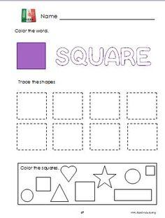 Square shape preschool printable worksheet.