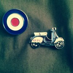Mod target and Aston Villa Football Club scooter badges