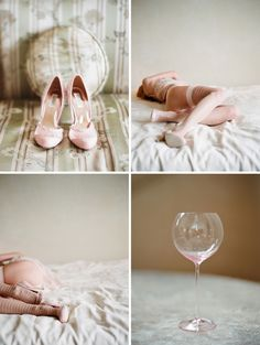 Cute idea with shoes and wine glass. Defjnatly different pictures