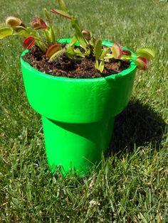 Piranha Planter: A Mario Bros themed planter Super Mario Brothers, Mario Bros, Neon Spray Paint, Geek Wedding, Fly Traps, Weekend Projects, Garden Trees, Small Plants, Decoration