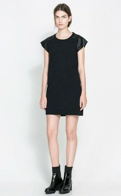 Cailin Leather Sleeve Dress www.unicway.com