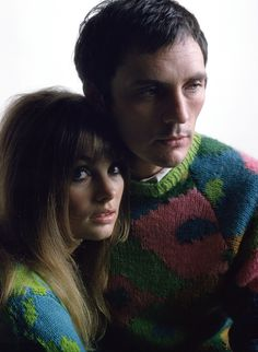 Jean Shrimpton and Terence Stamp 1967. (THOSE SWEATERS!)