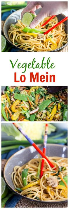 Vegetable Lo Mein is a quick and easy alternative to take-out and it is so delicious. #ad #DataAndAMovie - Eazy Peazy Melaz