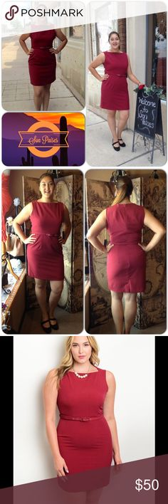 Burgundy Belted Dress This beautiful dress is perfect from the office right to dinner afterwards. Classic look with adjustable belt. Fully lined. Excellent material. Back zipper closure. 72% Polyester, 25% Rayon, 3% Spandex (This closet does not trade or use PayPal ) Have Dresses Midi