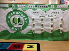 Starbooks cafe- Take a look and order a book! What would you like to order today? Students write down books they enjoy on popsicle sticks. On the opposite side, students record 3 descriptive words for the book- like spooky, funny, mysterious.