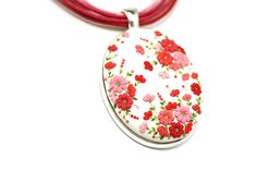 Oval Floral Pendant Necklace White Red Coral by KittenUmka on Etsy