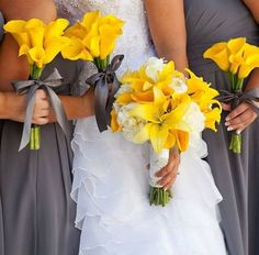 canary yellow wedding bouquets with purple dresses - Google Search