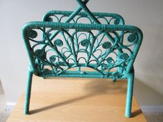 Vintage Turquoise Wicker Basket Magazine Rack - SunriseSunsetVintage