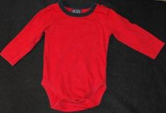 The Children's Place TCP Baby Boys 12-18 Months Red with Blue Trim Neckline Longsleeve Bodysuit Shirt~  Adorable onesie shirt. Red base with blue, collar. Great shirt for layering!   Tag says 18 Months, which in TCP clothing covers 12-18 Months, but my son wore them until 24 months.