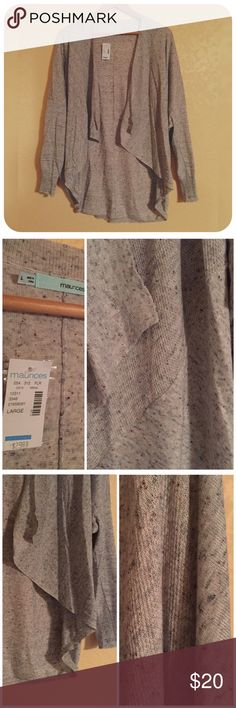 MAURICES cocoon cardigan NWT! Super cute, cozy and stylish. Speckled colors on a cream/gray background. Multiple textures and patterns in the weave. Tagged large but fits bigger as well. Fit me fine as a 2X, I just didn't like how it laid on me. I split the difference and listed as 1X. Maurices Sweaters Cardigans