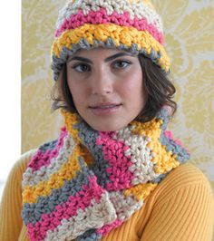 Crochet scarf & hat (with stripes!) from #LionBrand #yarn