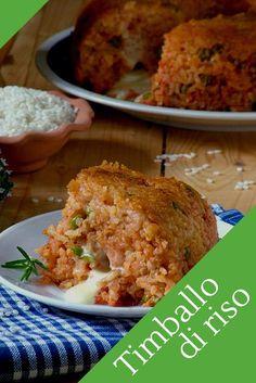 #timballo di #riso al #ragù con #piselli un #gustoso #primo #piatto #facile da realizzare.