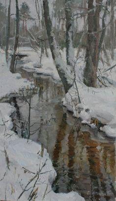 Anastasia Dukhanina (oil on canvas) landscape Watercolor Landscape, Abstract Landscape, Landscape Paintings, Watercolor Paintings, Watercolor Artists, Abstract Oil, Abstract Paintings, Oil Paintings, Winter Scenery