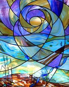 Stained Glass Window Inspiration Gallery #StainedGlassAbstract #StainedGlassMoon